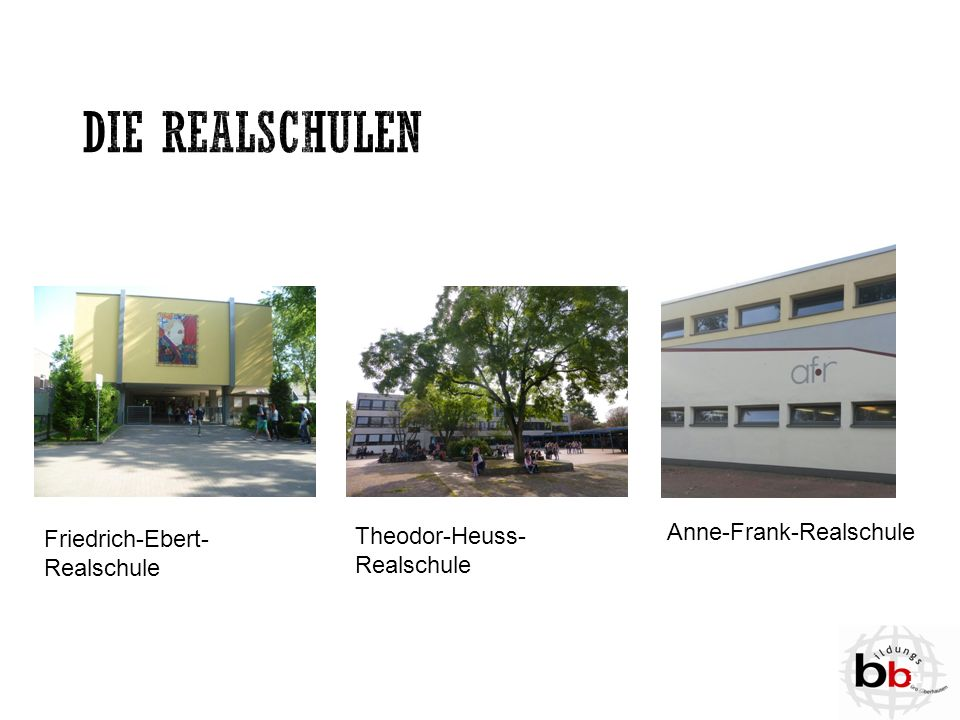 Die Realschulen Anne-Frank-Realschule Friedrich-Ebert-Realschule
