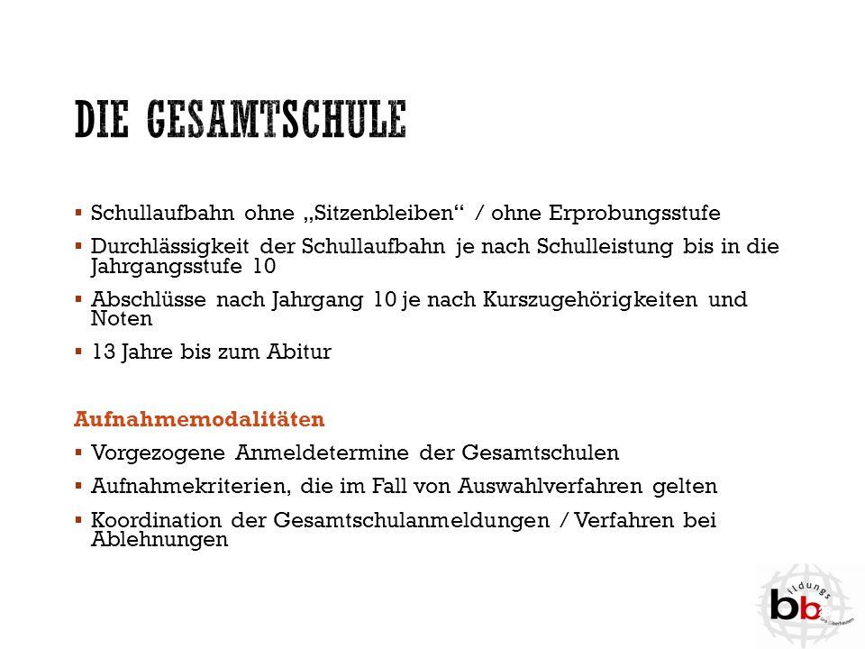 """Die Gesamtschule Schullaufbahn ohne """"Sitzenbleiben / ohne Erprobungsstufe."""