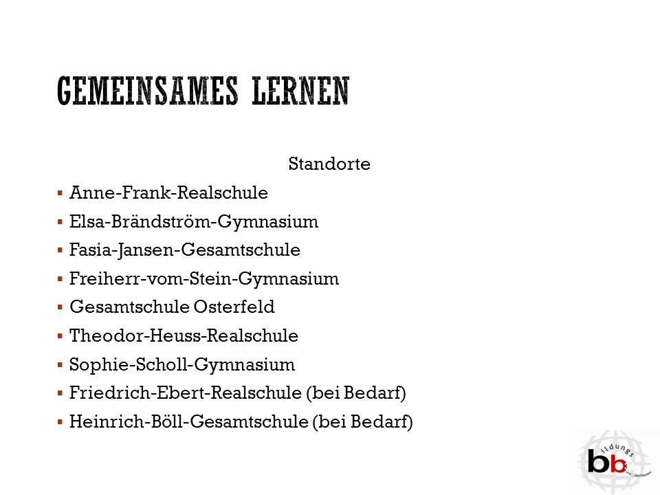 Gemeinsames Lernen Standorte Anne-Frank-Realschule