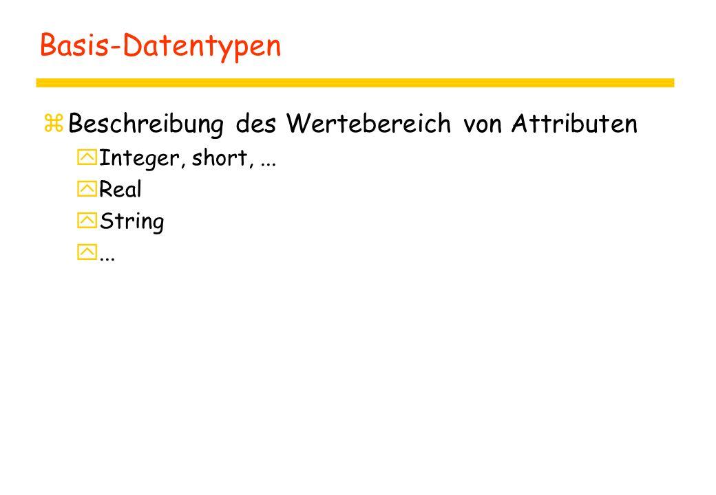 Basis-Datentypen Beschreibung des Wertebereich von Attributen