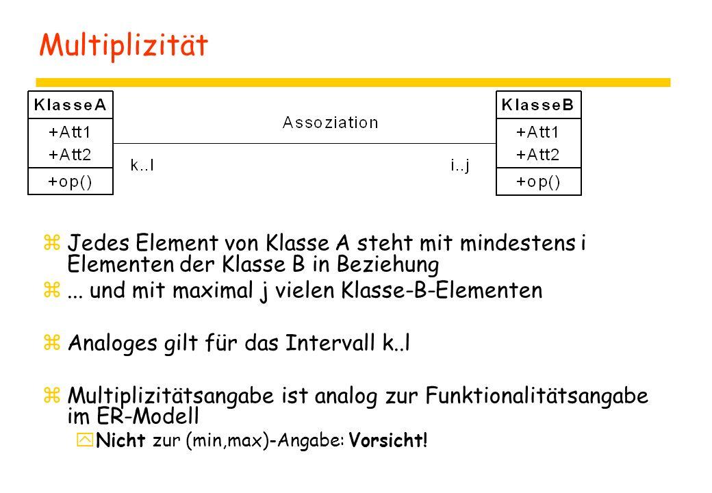Multiplizität Jedes Element von Klasse A steht mit mindestens i Elementen der Klasse B in Beziehung.