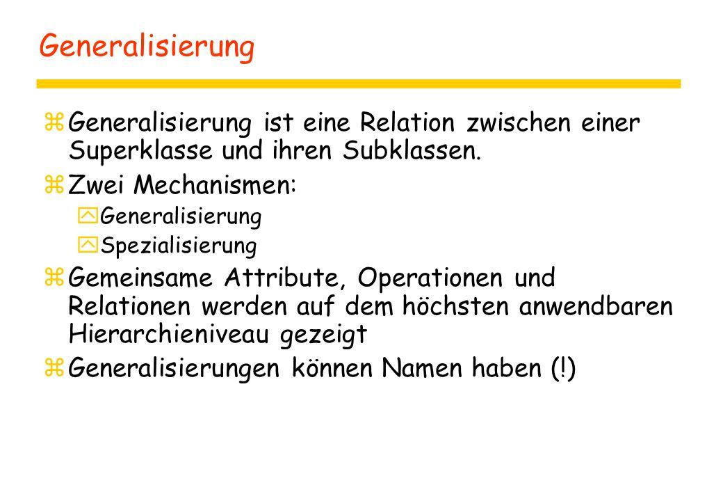 Generalisierung Generalisierung ist eine Relation zwischen einer Superklasse und ihren Subklassen. Zwei Mechanismen: