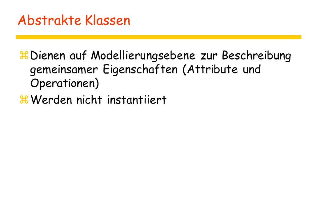 Abstrakte Klassen Dienen auf Modellierungsebene zur Beschreibung gemeinsamer Eigenschaften (Attribute und Operationen)