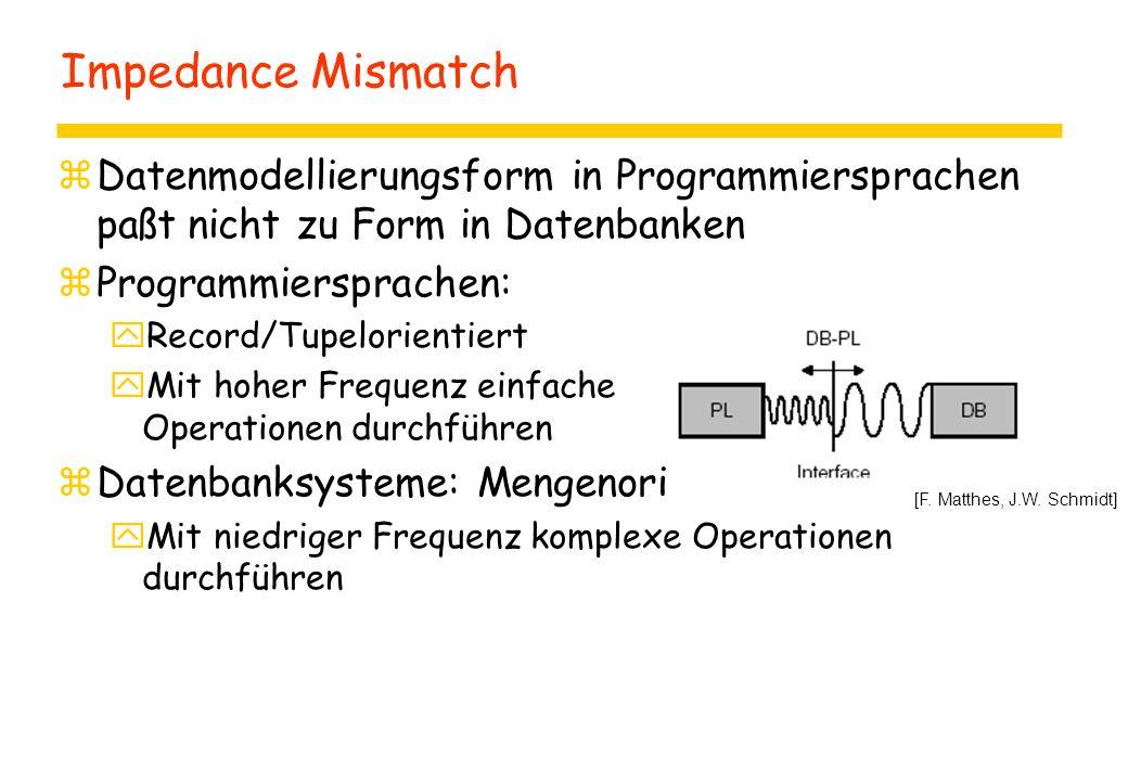 Impedance Mismatch Datenmodellierungsform in Programmiersprachen paßt nicht zu Form in Datenbanken.