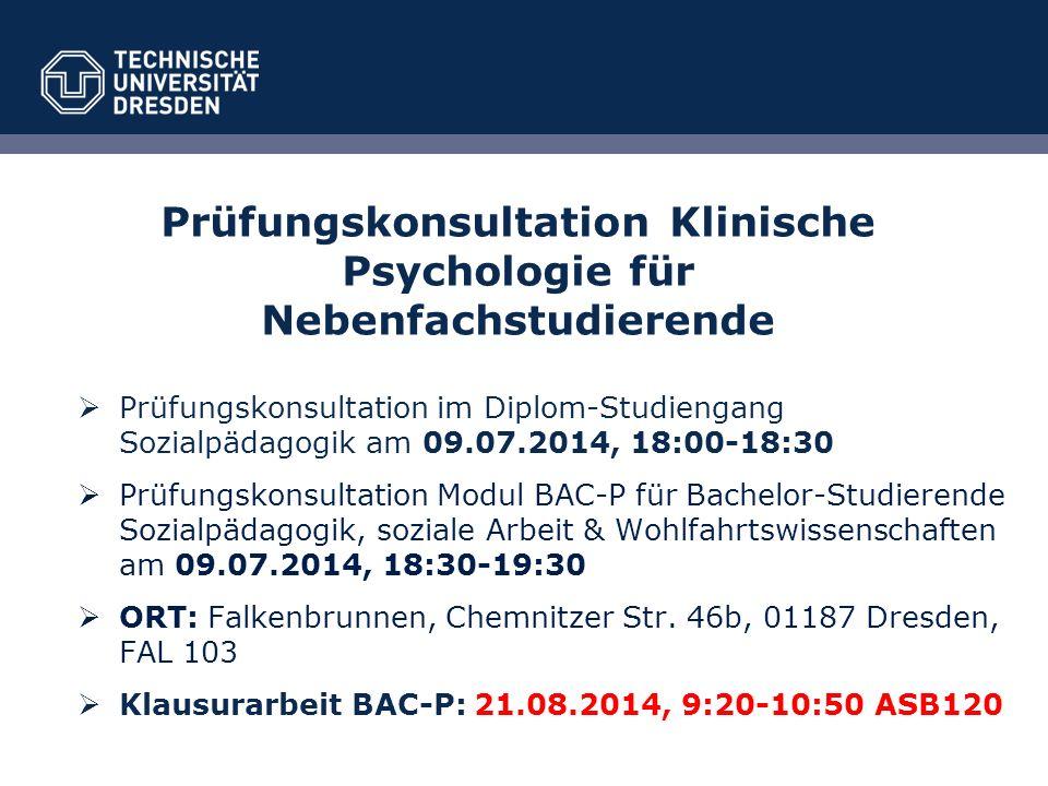 Prüfungskonsultation Klinische Psychologie für Nebenfachstudierende