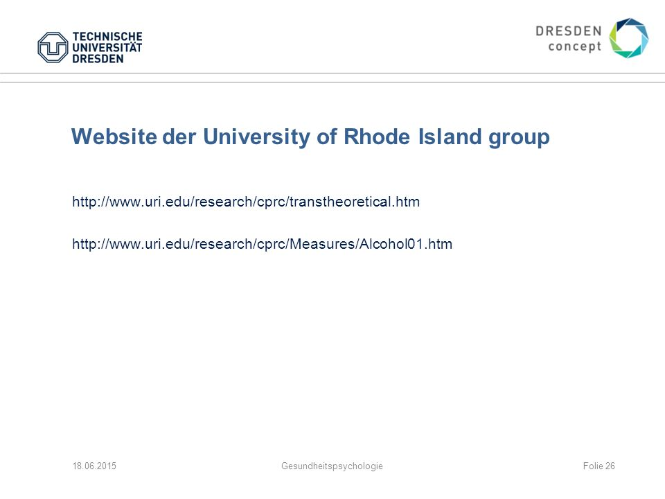 Website der University of Rhode Island group