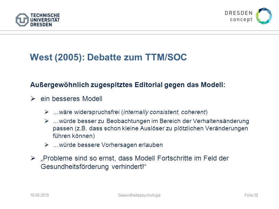 West (2005): Debatte zum TTM/SOC