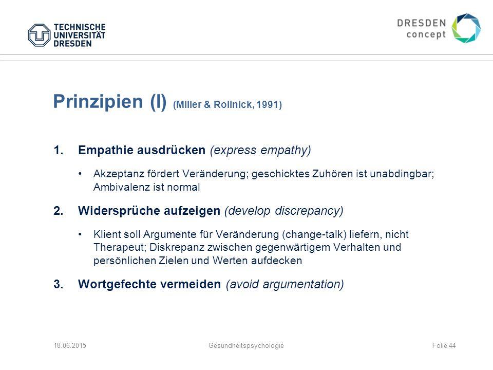 Prinzipien (I) (Miller & Rollnick, 1991)