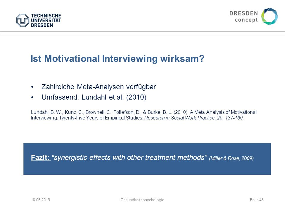 Ist Motivational Interviewing wirksam