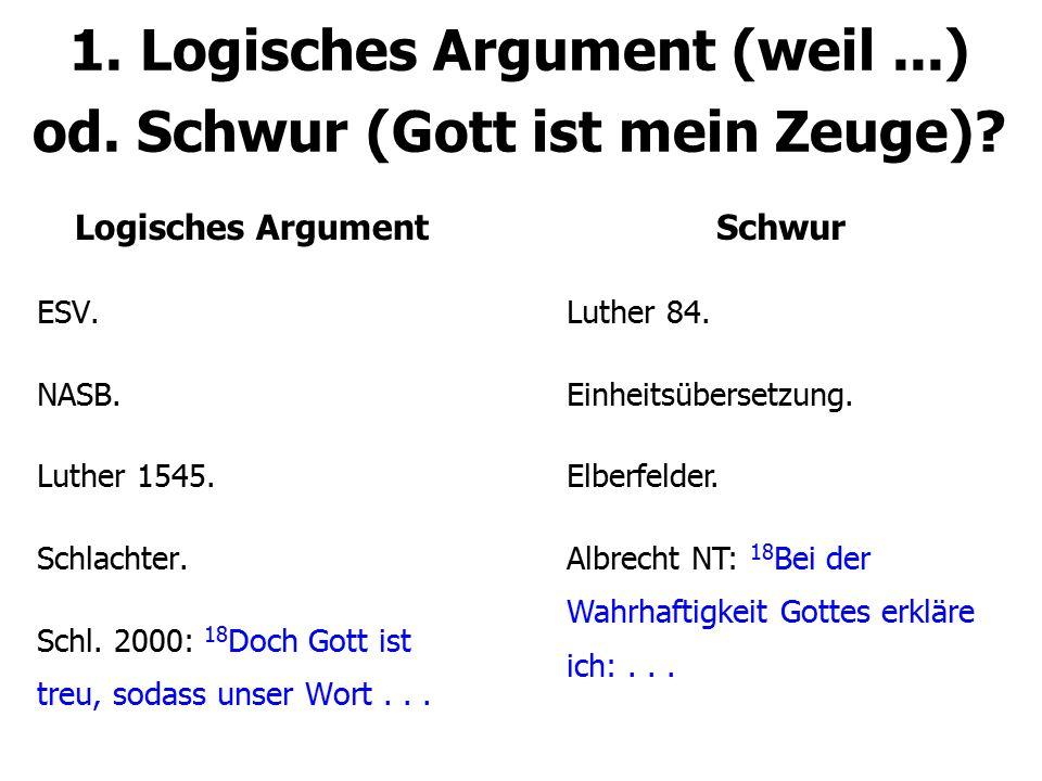 1. Logisches Argument (weil ...) od. Schwur (Gott ist mein Zeuge)