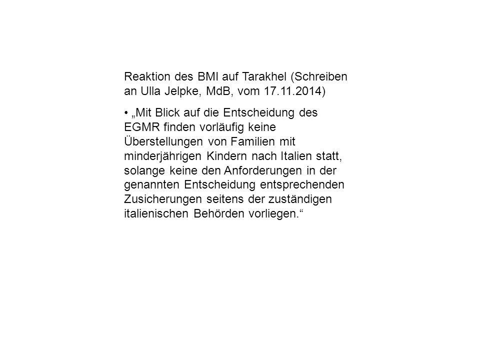 Reaktion des BMI auf Tarakhel (Schreiben an Ulla Jelpke, MdB, vom 17