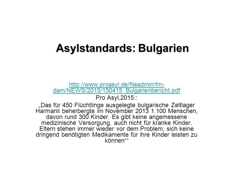 Asylstandards: Bulgarien