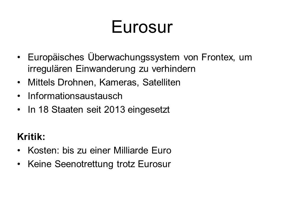 Eurosur Europäisches Überwachungssystem von Frontex, um irregulären Einwanderung zu verhindern. Mittels Drohnen, Kameras, Satelliten.
