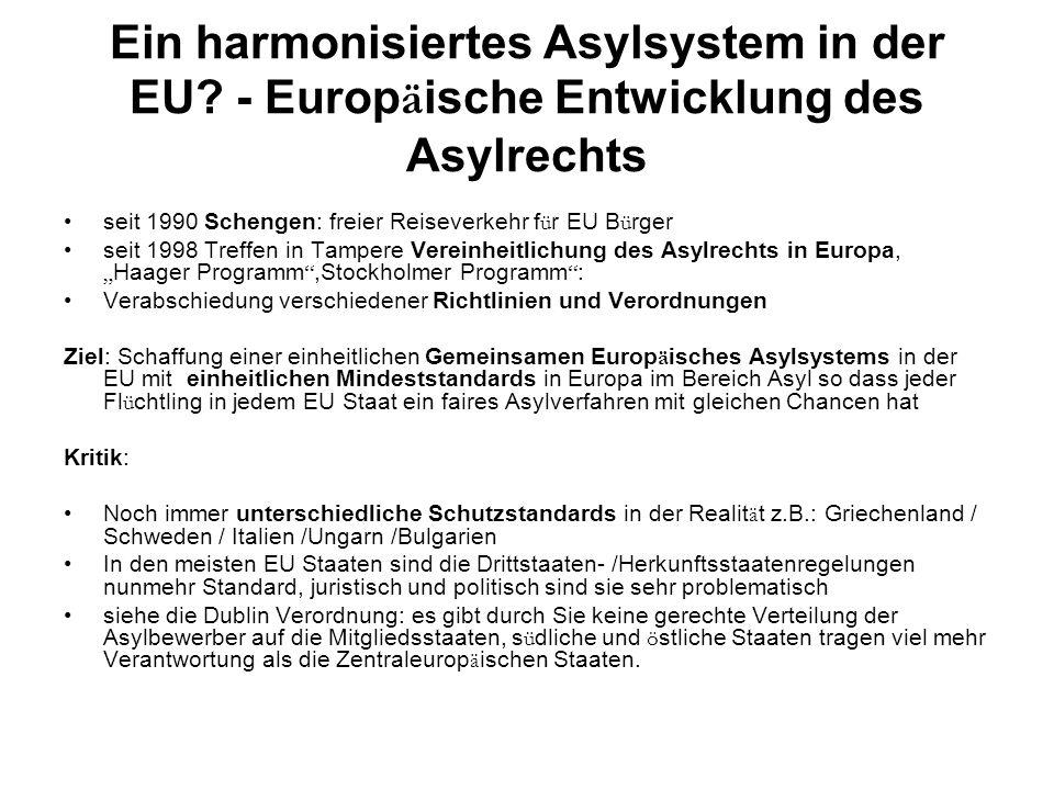 Ein harmonisiertes Asylsystem in der EU
