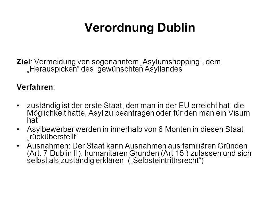 """Verordnung Dublin Ziel: Vermeidung von sogenanntem """"Asylumshopping , dem """"Herauspicken des gewünschten Asyllandes."""