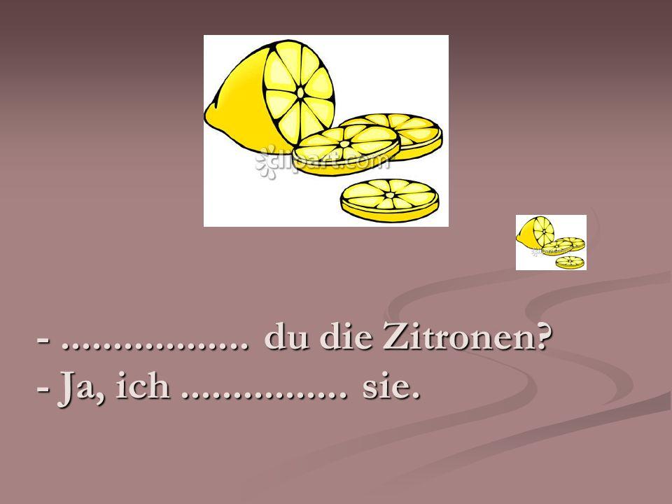 - .................. du die Zitronen - Ja, ich ................ sie.