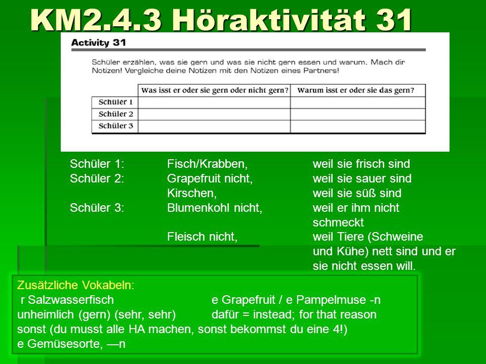 KM2.4.3 Höraktivität 31 Schüler 1: Fisch/Krabben, weil sie frisch sind