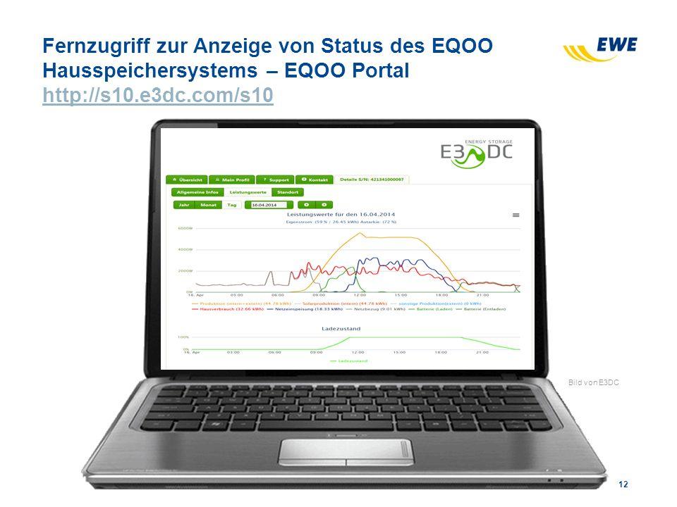Fernzugriff zur Anzeige von Status des EQOO Hausspeichersystems – EQOO Portal http://s10.e3dc.com/s10