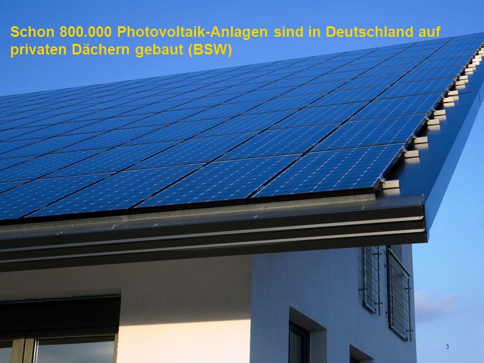 Schon 800.000 Photovoltaik-Anlagen sind in Deutschland auf privaten Dächern gebaut (BSW)