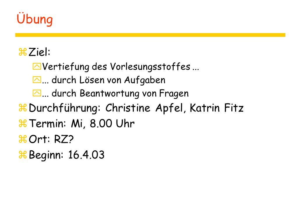 Übung Ziel: Durchführung: Christine Apfel, Katrin Fitz