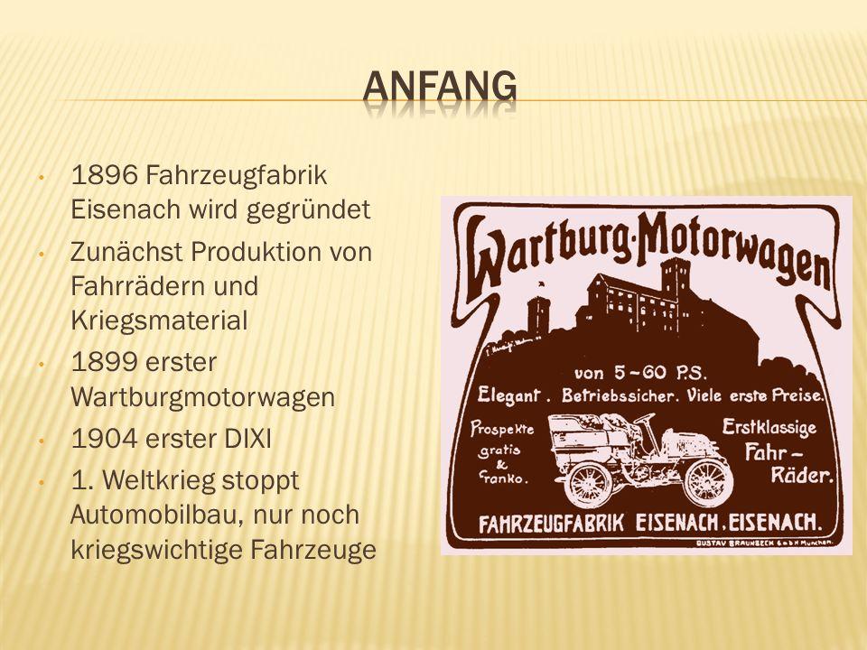 Anfang 1896 Fahrzeugfabrik Eisenach wird gegründet
