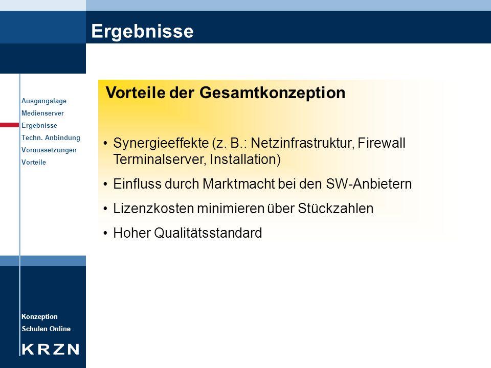Ergebnisse Vorteile der Gesamtkonzeption. Synergieeffekte (z. B.: Netzinfrastruktur, Firewall Terminalserver, Installation)