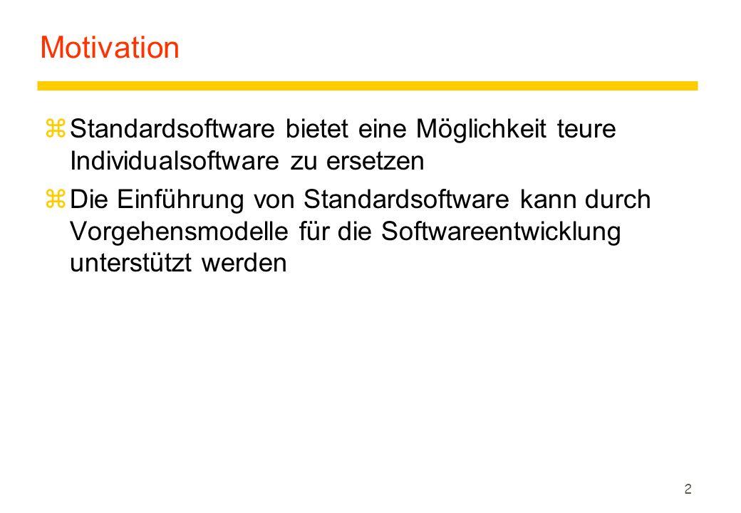 Motivation Standardsoftware bietet eine Möglichkeit teure Individualsoftware zu ersetzen.