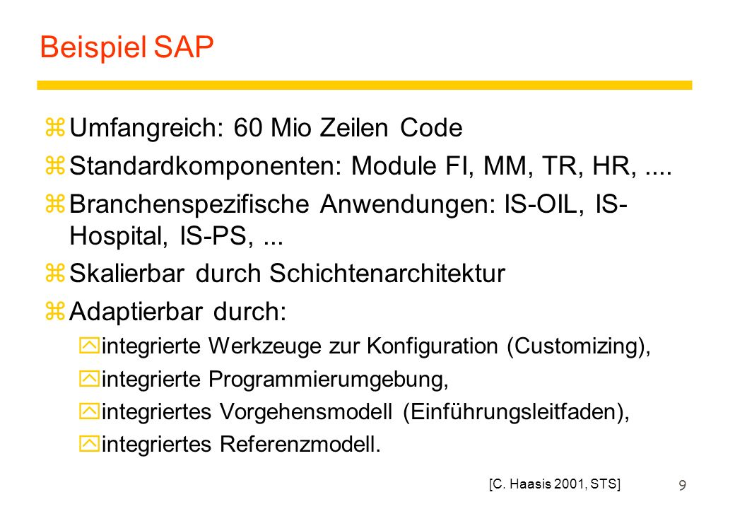 Beispiel SAP Umfangreich: 60 Mio Zeilen Code
