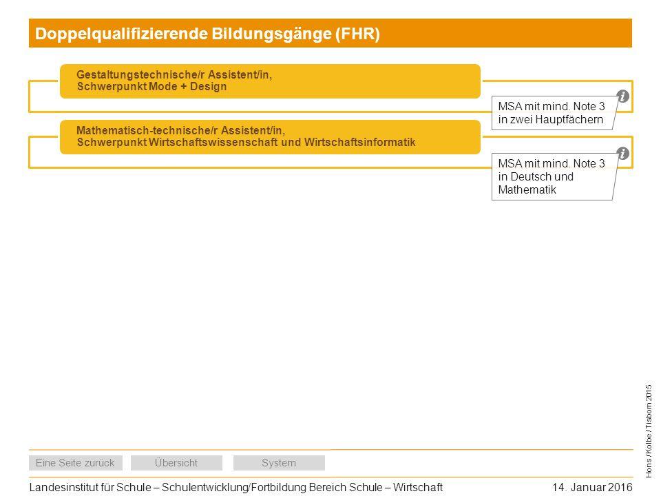 Doppelqualifizierende Bildungsgänge (FHR)