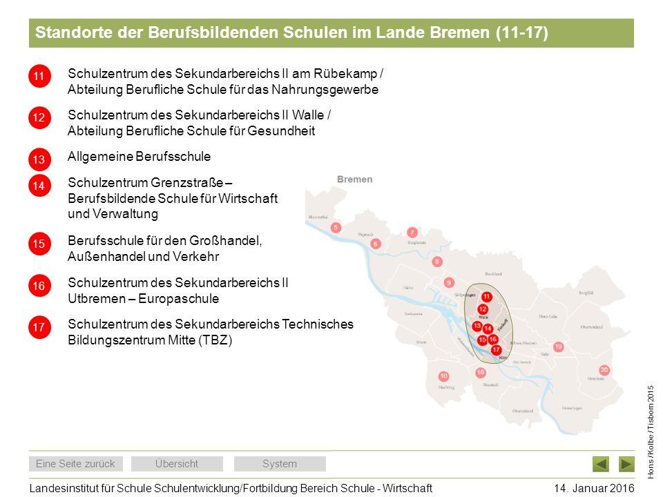 Standorte der Berufsbildenden Schulen im Lande Bremen (11-17)