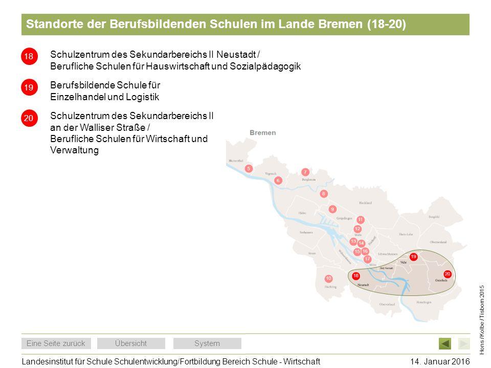 Standorte der Berufsbildenden Schulen im Lande Bremen (18-20)