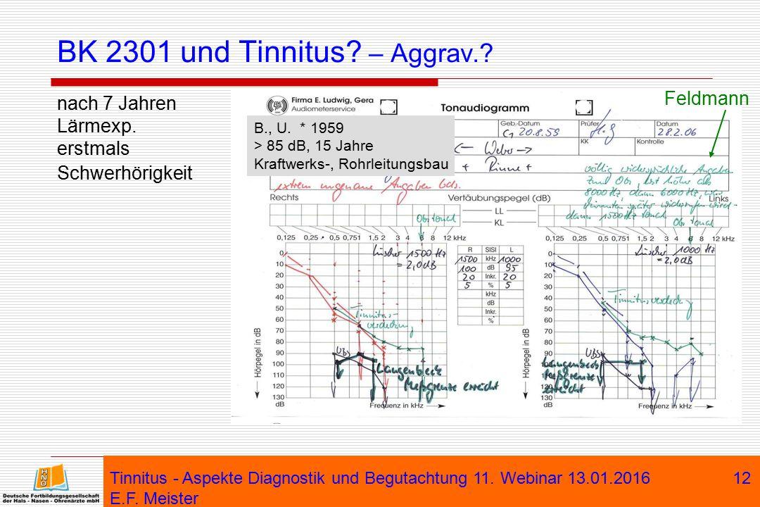 BK 2301 und Tinnitus – Aggrav.