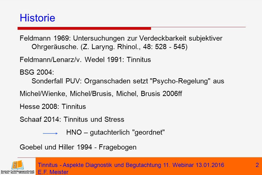 Historie Feldmann 1969: Untersuchungen zur Verdeckbarkeit subjektiver Ohrgeräusche. (Z. Laryng. Rhinol., 48: 528 - 545)