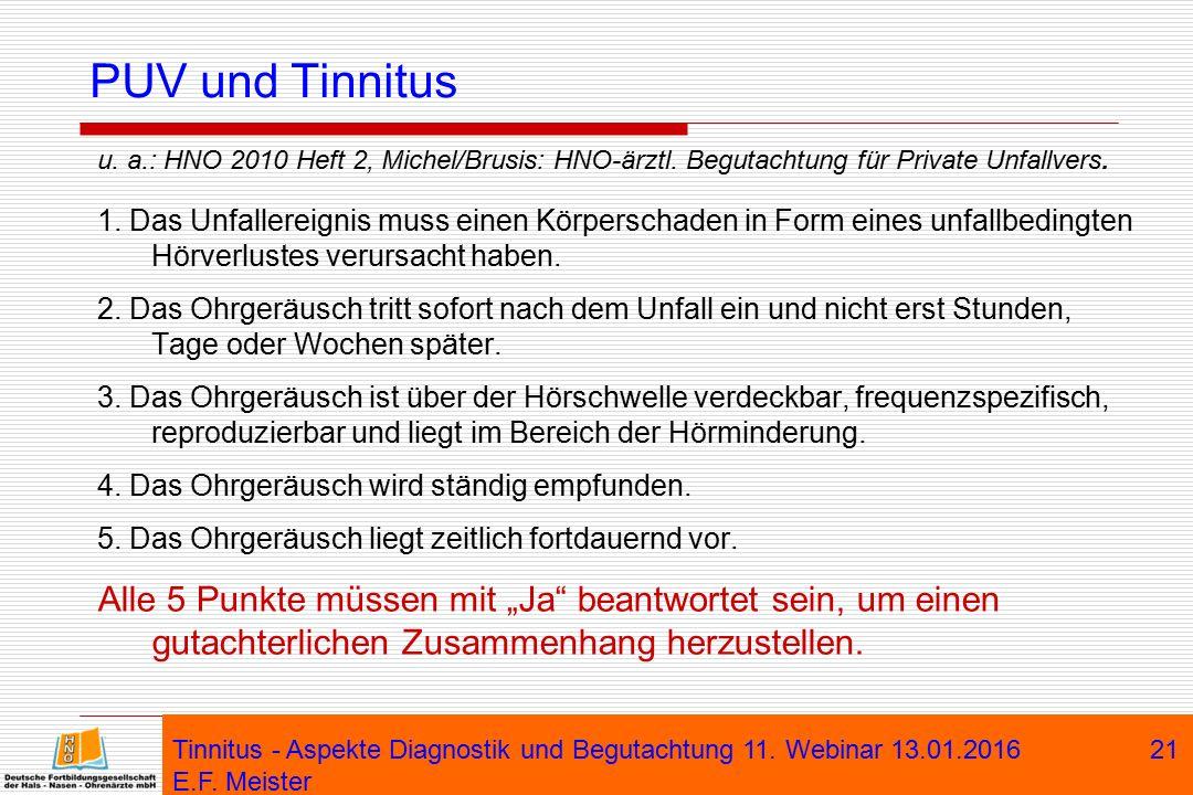 PUV und Tinnitus u. a.: HNO 2010 Heft 2, Michel/Brusis: HNO-ärztl. Begutachtung für Private Unfallvers.