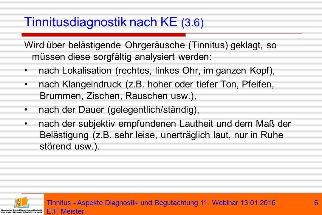 Tinnitusdiagnostik nach KE (3.6)