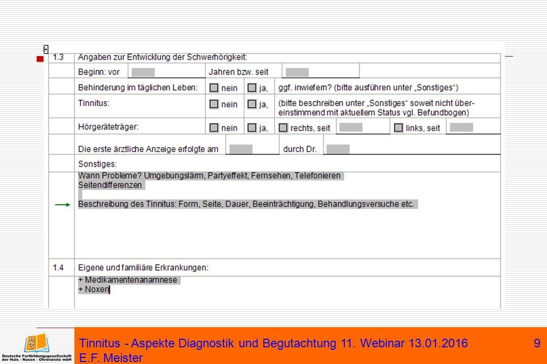 Tinnitus - Aspekte Diagnostik und Begutachtung 11. Webinar 13. 01
