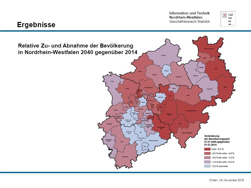 Ergebnisse Relative Zu- und Abnahme der Bevölkerung