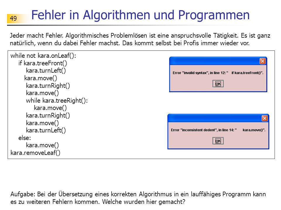 Fehler in Algorithmen und Programmen