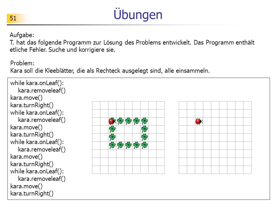 Übungen Aufgabe: T. hat das folgende Programm zur Lösung des Problems entwickelt. Das Programm enthält etliche Fehler. Suche und korrigiere sie.