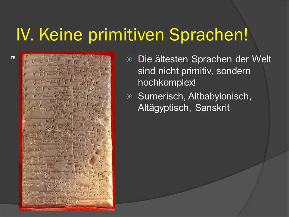 IV. Keine primitiven Sprachen!