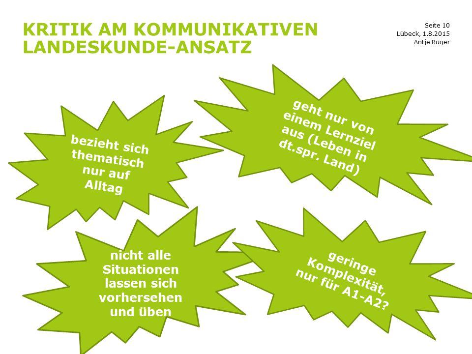 Kritik am kommunikativen Landeskunde-Ansatz