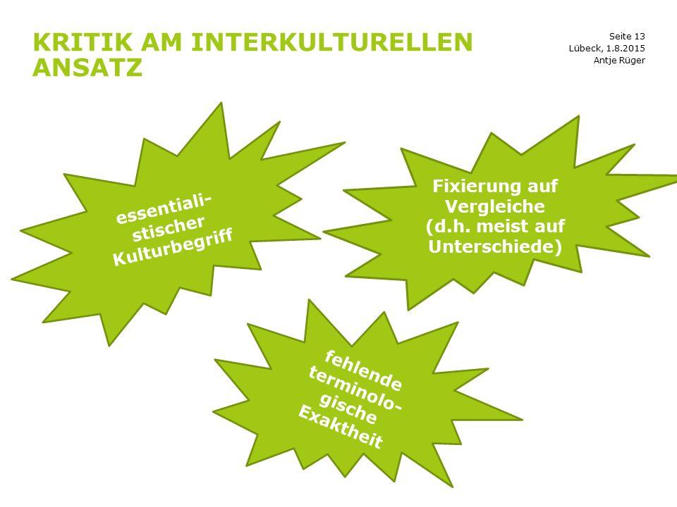 Kritik am interkulturellen Ansatz