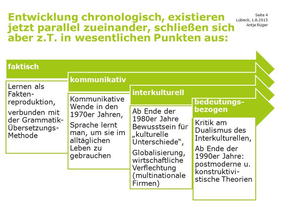 Entwicklung chronologisch, existieren jetzt parallel zueinander, schließen sich aber z.T. in wesentlichen Punkten aus: