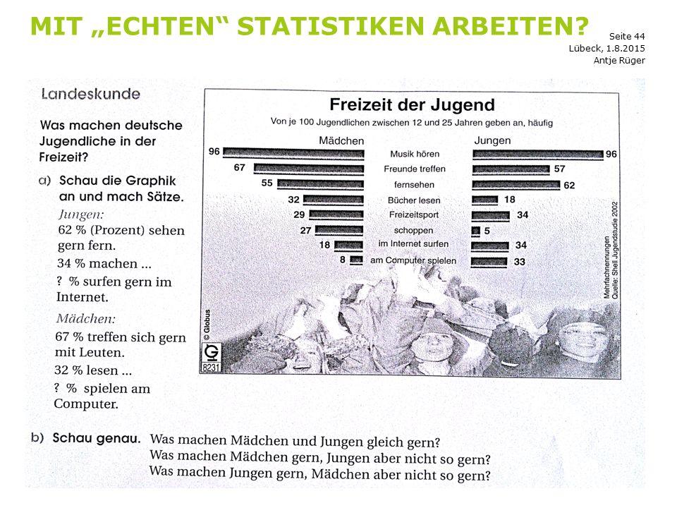 """Mit """"echten Statistiken arbeiten"""