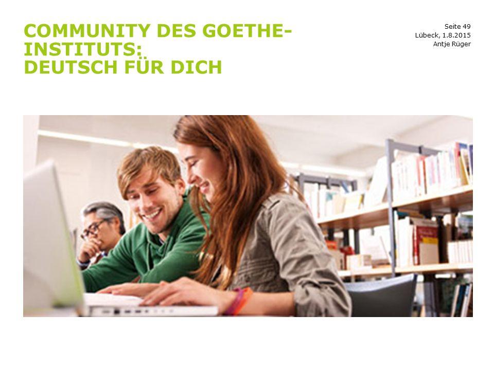 Community des Goethe-Instituts: Deutsch für dich
