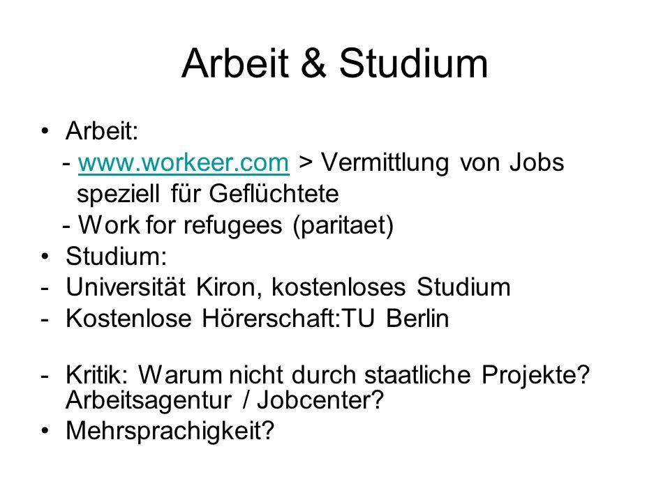 Arbeit & Studium Arbeit: - www.workeer.com > Vermittlung von Jobs