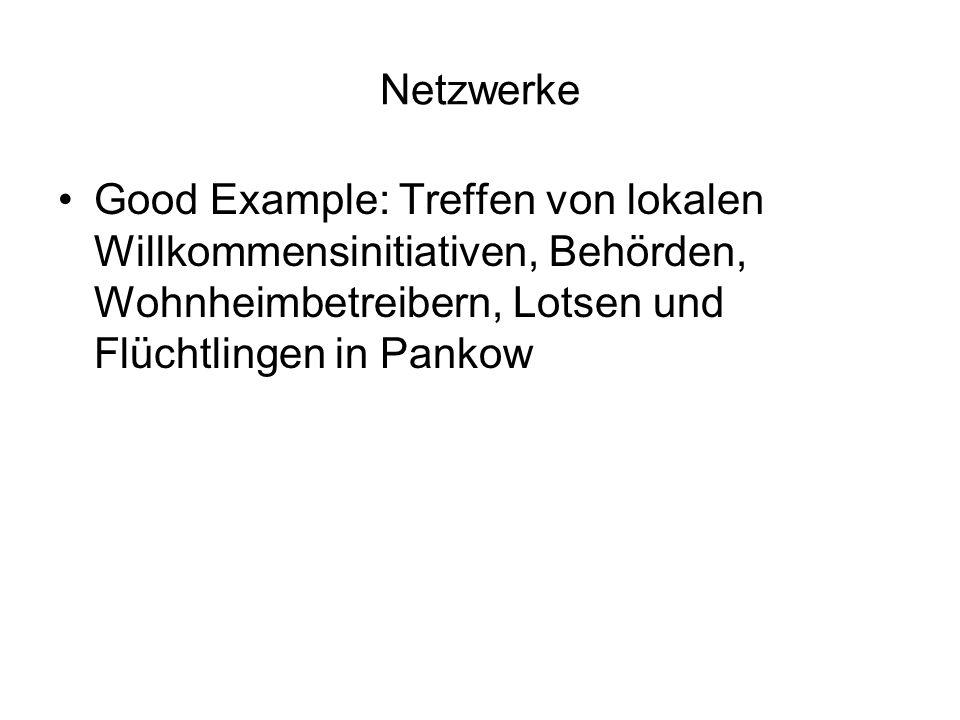 Netzwerke Good Example: Treffen von lokalen Willkommensinitiativen, Behörden, Wohnheimbetreibern, Lotsen und Flüchtlingen in Pankow.