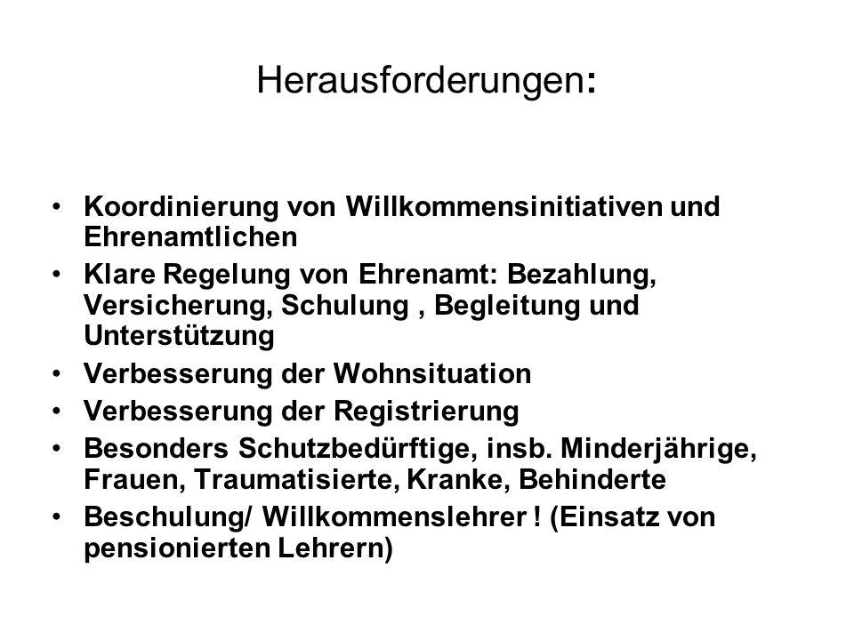 Herausforderungen: Koordinierung von Willkommensinitiativen und Ehrenamtlichen.