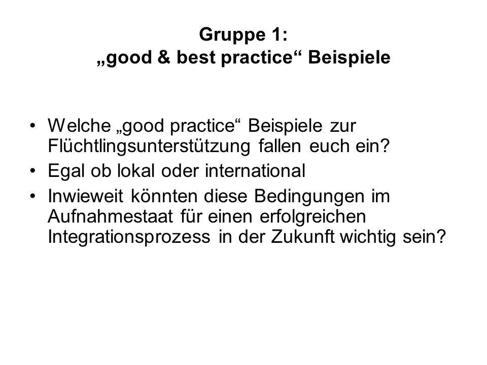 """Gruppe 1: """"good & best practice Beispiele"""