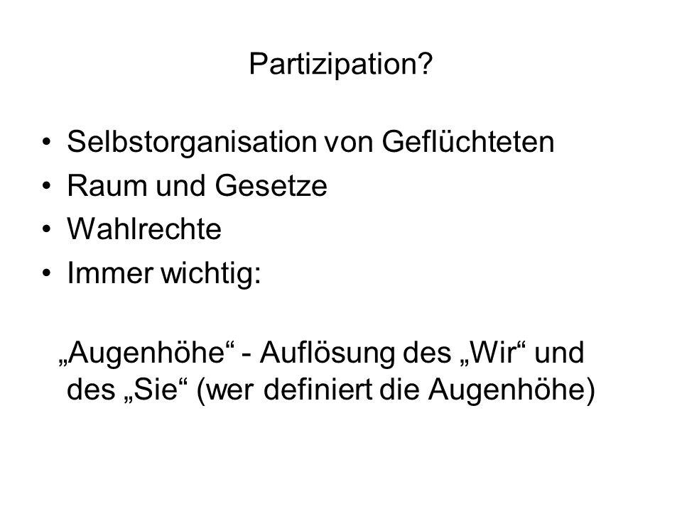 Partizipation Selbstorganisation von Geflüchteten. Raum und Gesetze. Wahlrechte. Immer wichtig: